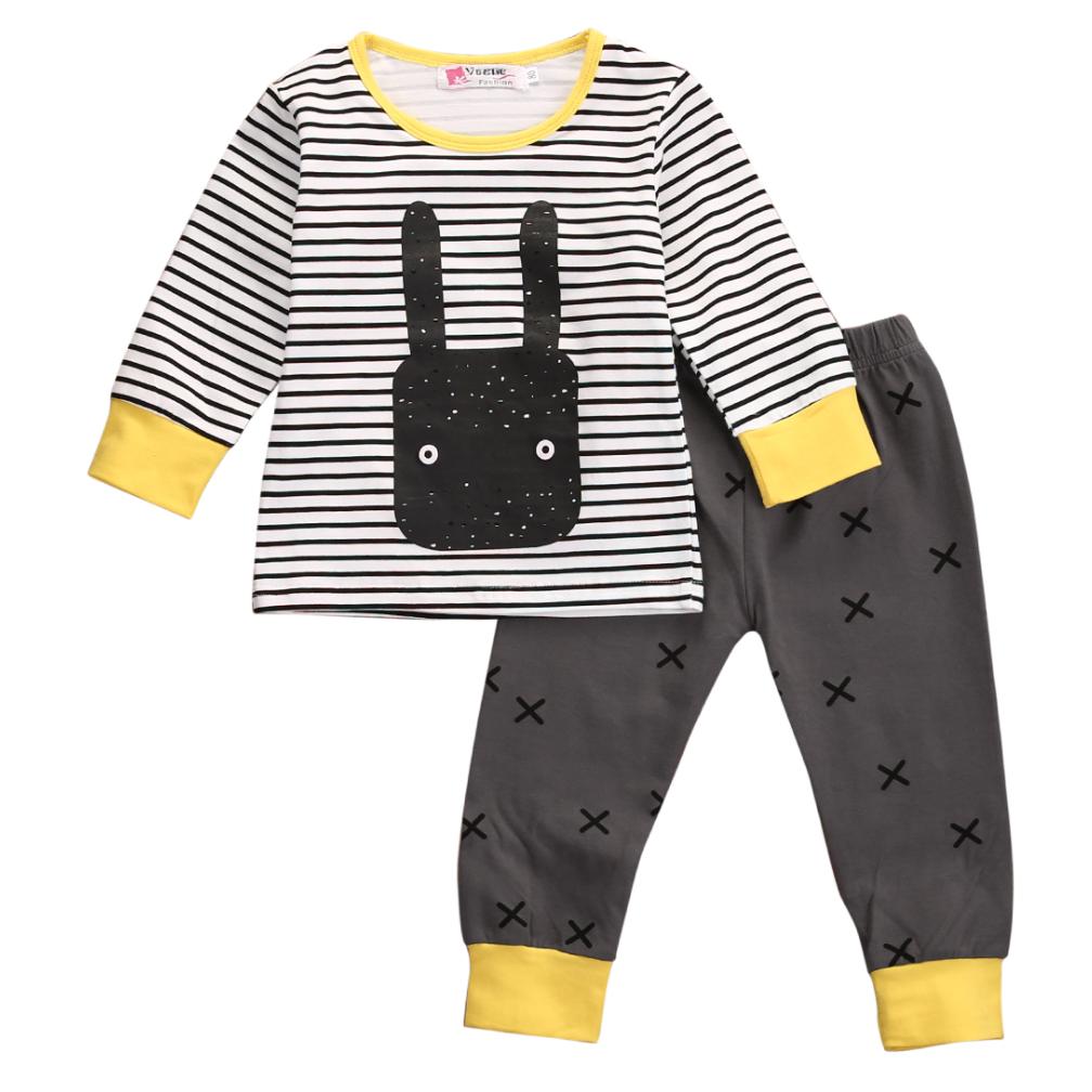 Setje broek & trui - geel/zwart met konijntje - Binkies