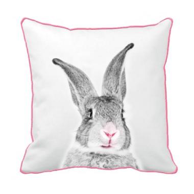 kussenhoes konijn roze grijs