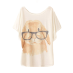 t-shirt konijn met bril