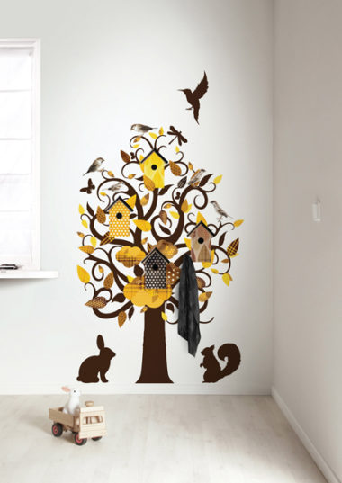 muursticker birdhouse tree - geel