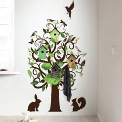 muursticker birdhouse tree - groen