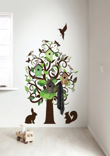 muursticker birdhouse tree - groen