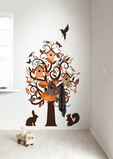muursticker birdhouse tree - oranje