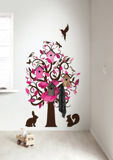 muursticker birdhouse tree - roze