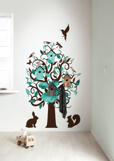 muursticker birdhouse tree - turquoise