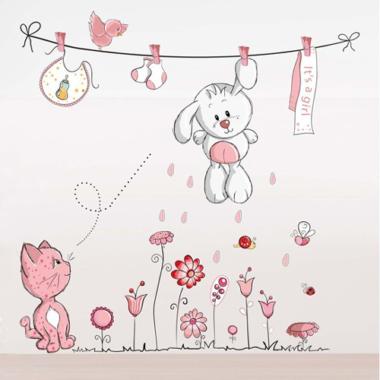 muurposter konijn baby kinderkamer-meisje