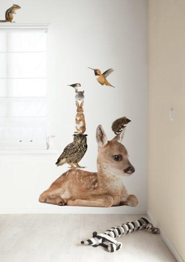 muursticker konijn en vrienden set hert