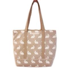 handgemaakte tas met konijntjes-beige