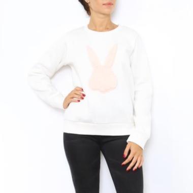 witte sweater roze konijn