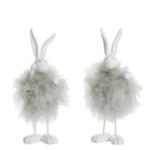 decoratie konijn staand assortiment wit munt