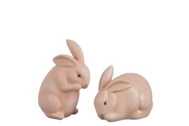 assortiment 2 konijnen zalmroze -klein formaat