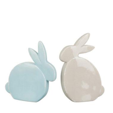 set konijnen blauw beige groot
