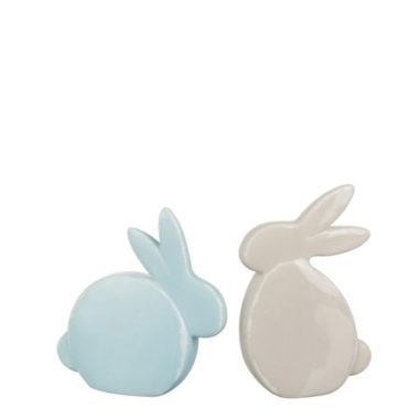 set konijnen blauw beige klein