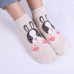 Beige sokjes met konijn - roze pootjes