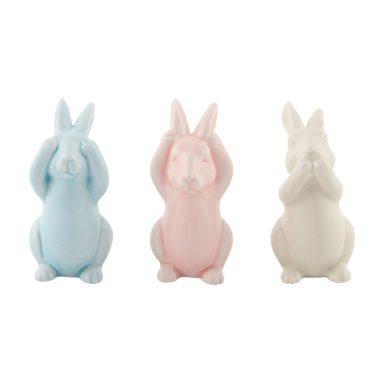 horen, zien en zwijgen - konijnen in pastel kleur