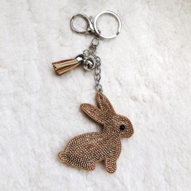 sleutelhanger konijn taupe